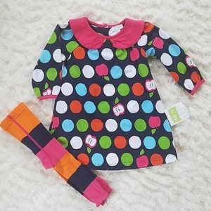 NWT Le Top Dress & Tights 12M bright colors apple